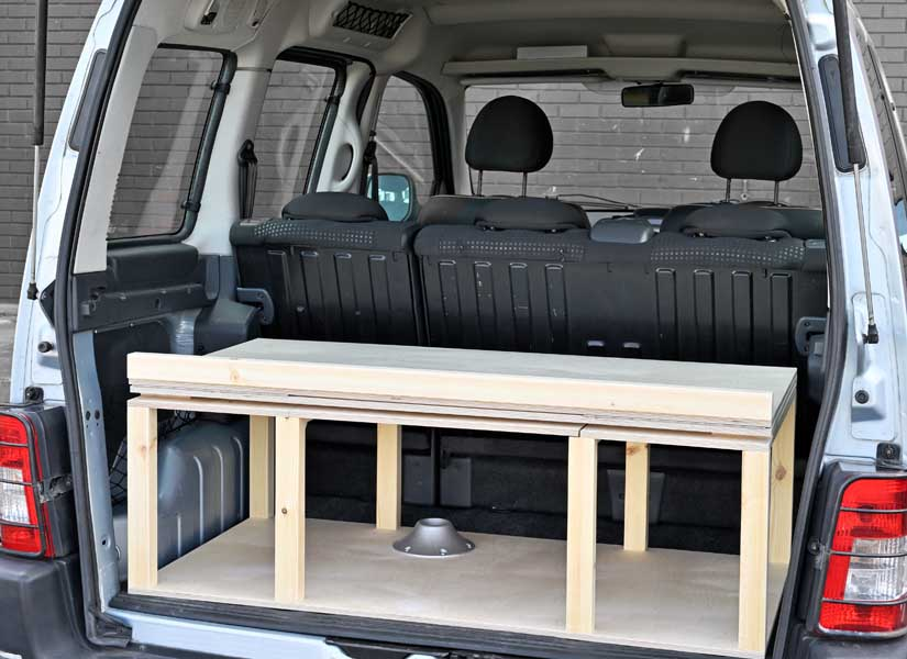 The Simple camper van conversion in storage mode.