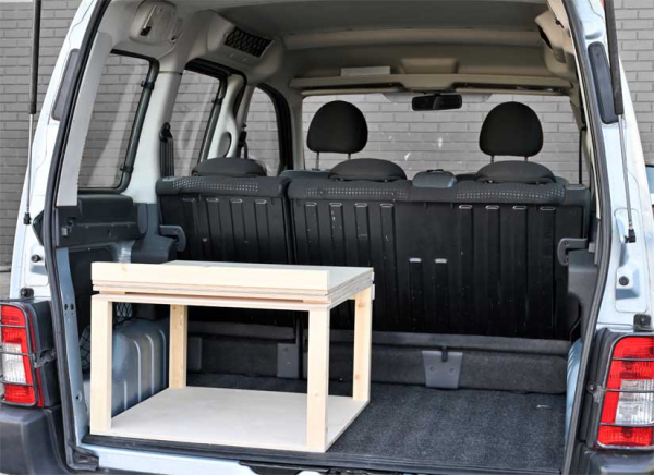 The Simple Solo camper van conversion in storage mode.