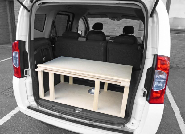 You'll find plenty of storage space underneath the camper van module.