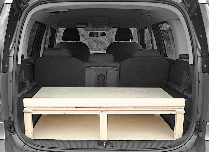 The Skoda Roomster camper van conversion in storage mode.