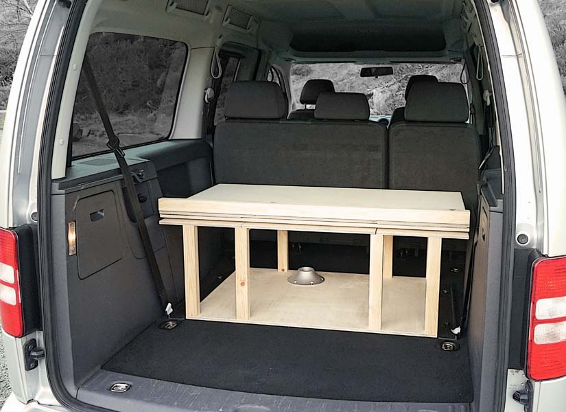 The VW Caddy Maxi Life camper van conversion in storage mode.